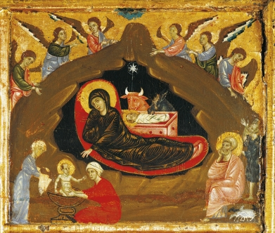 Nativity, detail from Antependium of St Peter Enthroned by Guido da Siena (circa 1250 -1300), tempera and gold on wood, 100x141 cm, circa 1280.