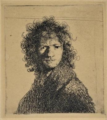 Rembrandt, Etching, Self Portrait with an Angry Expression, c.1630