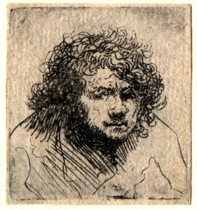 Rembrandt, Etching, small self-portrait, c.1627-8