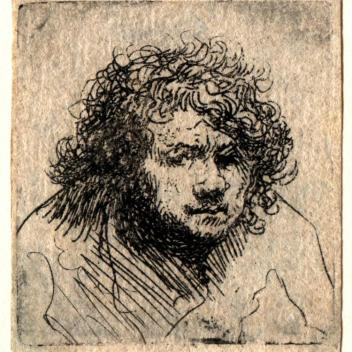 Rembrandt, Etching, small self-portrait, c.1627-8
