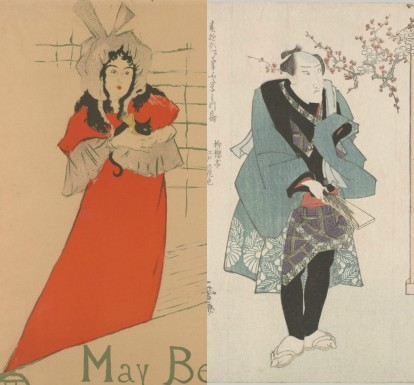 "Left, ""May Belfort"" by Lautrec, 1895. Right, one print from a series called ""Three Kabuki Actors Playing Hanetsuki"" by Utagawa Kuniyasu (Japanese, 1794–1834), ca. 1823."