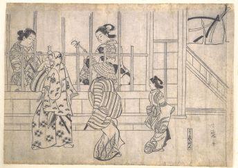 Street Scene in Yoshiwara,late 17th century - Hishikawa Moronobu