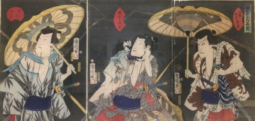 "Toyohara Kunichika's 1865 ""Famous actors caught in an evening thunderstorm"""