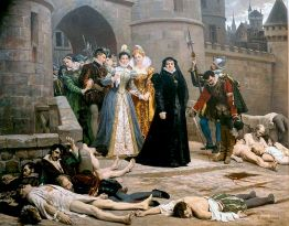 "Édouard Debat-Ponsan (1847–1913), ""Catherine de Medici gazing at Protestants massacred in the aftermath of the massacre of St. Bartholomew"" (1880)"