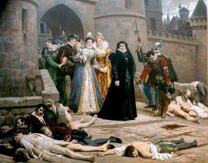 "Édouard Debat-Ponsan (1847–1913), ""Catherine de Medici gazing at Protestants massacred in the aftermath of the massacre of St. Bartholomew"" (1880)"